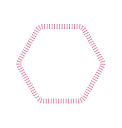 stitched polygon shaped border or sewing seams vector image