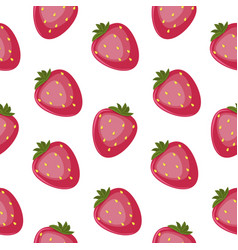 strawberry seamless pattern floral hand vector image