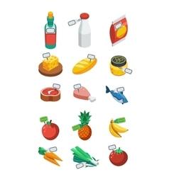 Supermarket Isometric Flat Icons vector