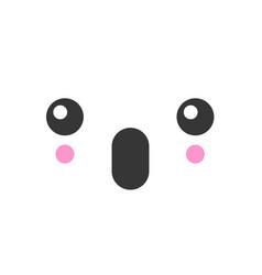 surprised kawaii cute emotion face emoticon vector image