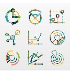 Thin line chart logo set Graph icons modern vector
