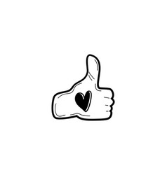 thumbs up gesture with love shape concept doodle vector image