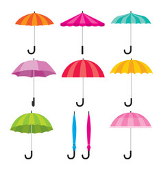 Umbrella objects icons set colorful vector