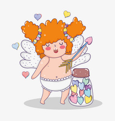 valentine day and cupid with arrow and candies vector image
