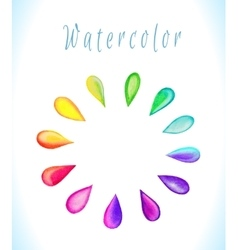 Watercolor frame with rainbow drops vector