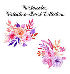 watercolor valentine elements collection vector image