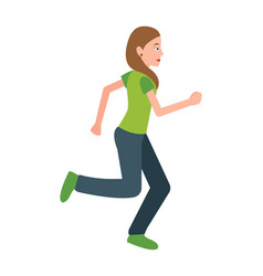 woman jogging teenager in sport apparel vector image