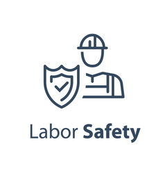 Worker and shield medical insurance vector