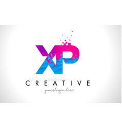 Xp x p letter logo with shattered broken blue vector