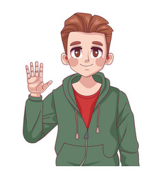 Young teenager boy comic anime character with hand vector