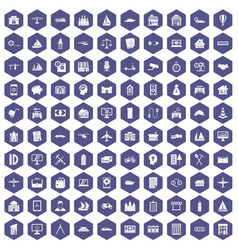 100 private property icons hexagon purple vector