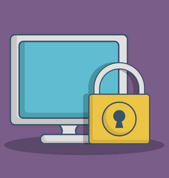 computer and padlock icon vector image
