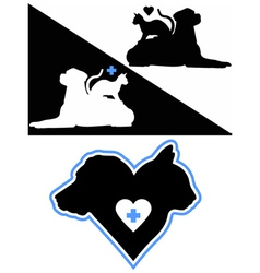 Dog and Cat Silhouettes vector image