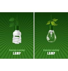 ecological lightbulbs set concept vector image