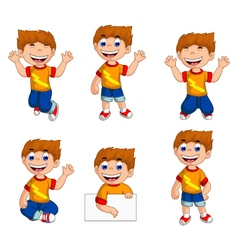 expression of boy cartoon collection vector image vector image