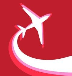graphic symbol of an airplane on a red background vector image
