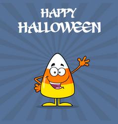 happy candy corn cartoon character waving vector image