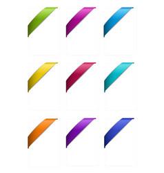 Set of Corner Ribbons in Metallic Colors vector image vector image