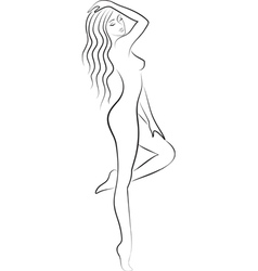 sketch of nacked woman vector image