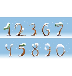 Winter trees number on white background vector image