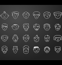 icon set 24 male faces vector image vector image