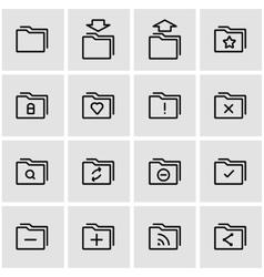 line folder icon set vector image vector image