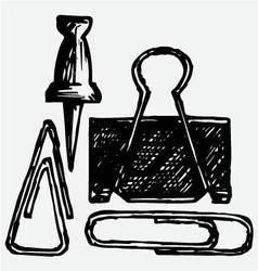 Metal thumb tack and paper clip vector image vector image