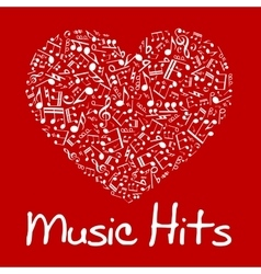 Music heart with notes and musical symbols vector image