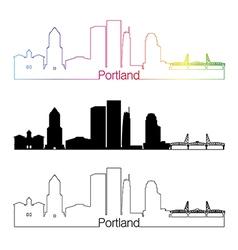 Portland v2 skyline linear style with rainbow vector