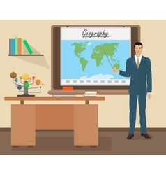 School Geography male teacher in audience class vector image vector image