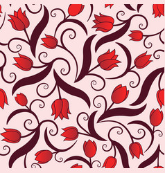 seamless pattern with red tulips vector image vector image