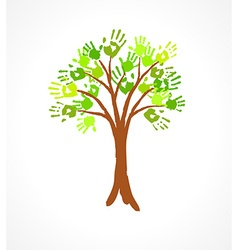 Green tree with leaves made of handprint vector