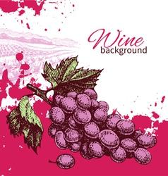 Hand drawn wine vintage background vector image vector image