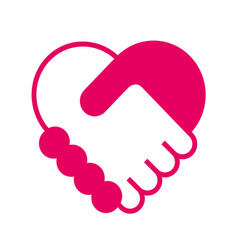 handshake in the form of heart vector image vector image