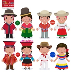 Kids in different traditional costumes Bolivia vector image vector image