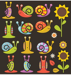 Snails and flowers vector