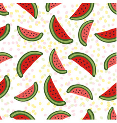 Watermelon seamless pattern dessert texture with vector