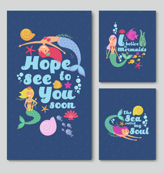 blue invitation cards with cute cartoon sea vector image vector image