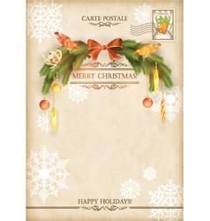Christmas Vintage Holiday Postcard vector image