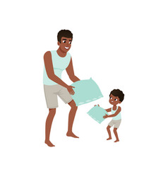 dad and son playing pillow loving dad and kid vector image