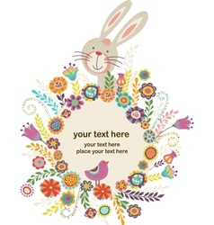 easter greeting card with bunny vector image vector image