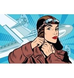 girl pilot prepares for departure vector image vector image
