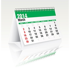March 2014 desk calendar vector