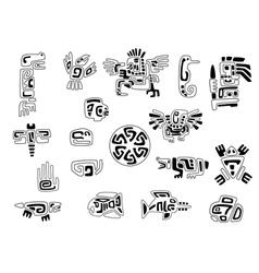 set of stylized native american symbols vector image