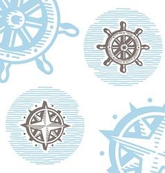 Vintage marine symbols icon set engraving wheel vector