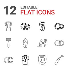 12 groom icons vector