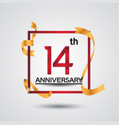 14 anniversary design with red color in square vector