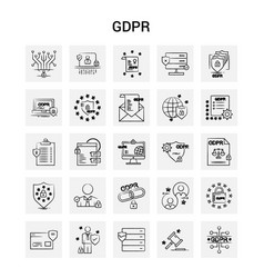 25 hand drawn gdpr icon set gray background doodle vector