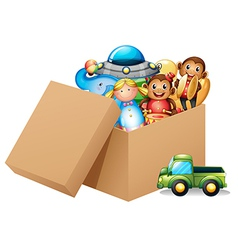 A box full of different toys vector