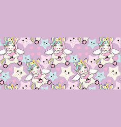 a pattern with small unicorns with wings on the vector image